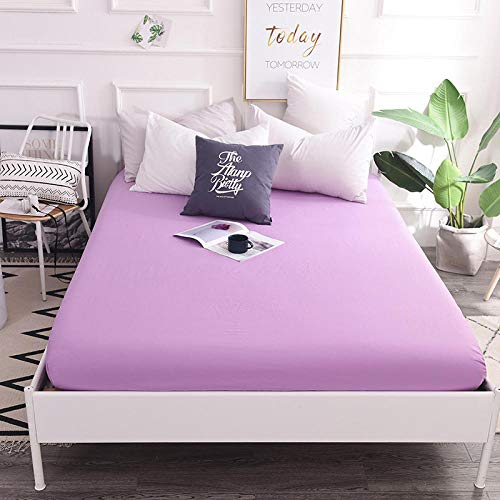 GTWOZNB Non Iron Soft Poly-Cotton Plain Dyed Flat Bed Sheet Single, King Available Cotton bed sheet single piece-light purple a52_120*200cm