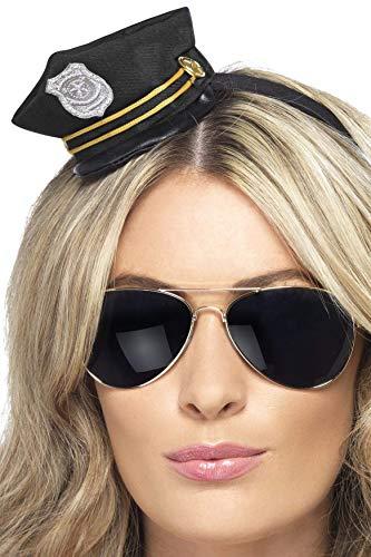 Smiffys Damen Mini Polizei Hut auf Haarreif, One Size, Schwarz, 22740