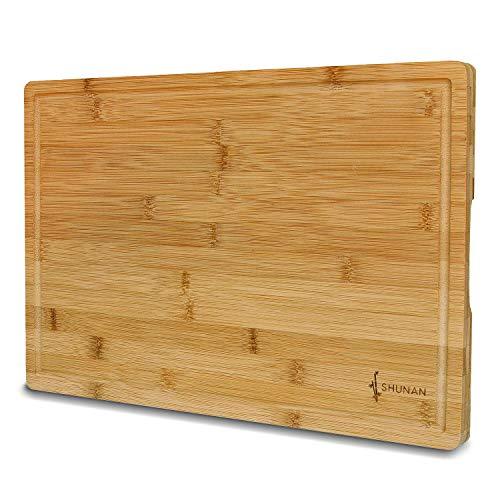 Großes Bambus Schneidebrett Shunan I Holz-Brett Küche 45x30cm I Premium Qualität I Küchenbrett I Saftrille I Antibakterielles Schneidbrett I Hackbrett