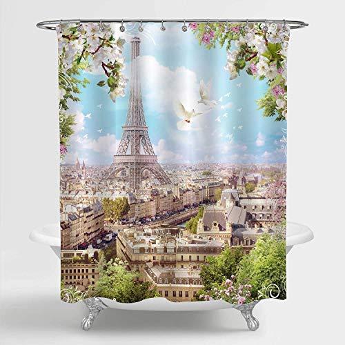 Aliyz Eiffelturm mit Blumen von Apfelbäumen & Tauben Duschvorhang Paris Touristenattraktion Künstler Apartment Dekor Wasserdichtes maschinenwaschbares Polyestergewebe Badzubehör Zoll