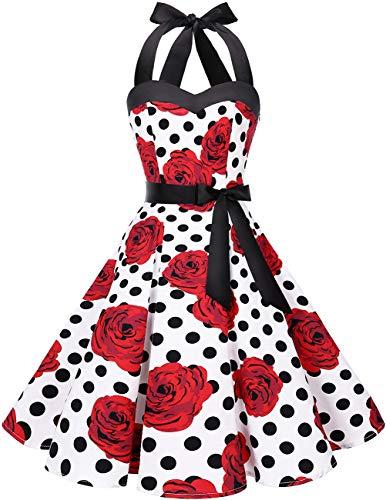 DRESSTELLS Neckholder Rockabilly 1950er Polka Dots Punkte Vintage Retro Cocktailkleid Petticoat Faltenrock White Red Rose Dot M