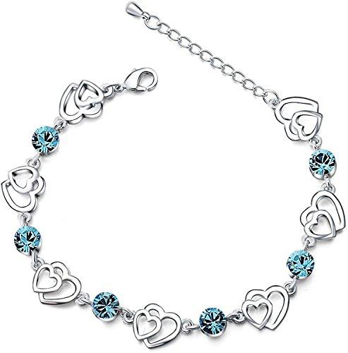 Pulsera con doble corazón de cristales azules Swarovski Elements pulsera de plata de ley con circonia cúbica