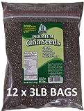 Get Chia Brand Black Chia Seeds - 36 Total POUNDS = Twelve x 3 Pound Bags