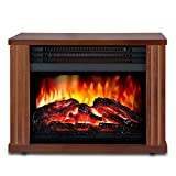 LIFEPLUS Electric Fireplace with 3D Realistic Flame Effect, Portable Fireplace Heater 2 Modes Setting, Overheating Safety Protection, Small Space Heater for Indoor Use, 1200w, Wood Frame