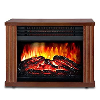 LIFEPLUS Electric Fireplace with 3D Realistic Flame Effect Portable Fireplace Heater 2 Modes Setting Overheating Safety Protection Small Space Heater for Indoor Use 1500w Wood Frame