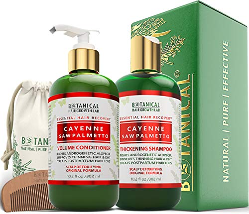 BOTANICAL HAIR GROWTH LAB - Shampoo and Conditioner Gift Set - Cayenne Saw Palmetto - Essential Hair Recovery - Scalp Detoxifying / Original - For Hair Loss Prevention Alopecia Postpartum DHT Blocker