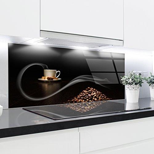 Splashback Verre Trempé Résistant à la Chaleur Décoratif - 125x50cm - 4mm d'épaisseur - Parfait derrière les cuisinières à gaz, céramique et induction - Facile à nettoyer et à accrocher