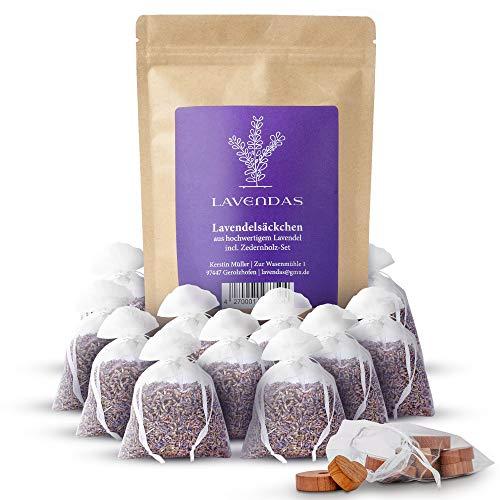 Lavendas 10 x Lavendelsäckchen & Zedernholz Set | Duft für Kleiderschrank | Entspannung & Einschlafen | Natürlicher Mottenschutz gegen Kleidermotten | Duftsäckchen 120g Lavendel