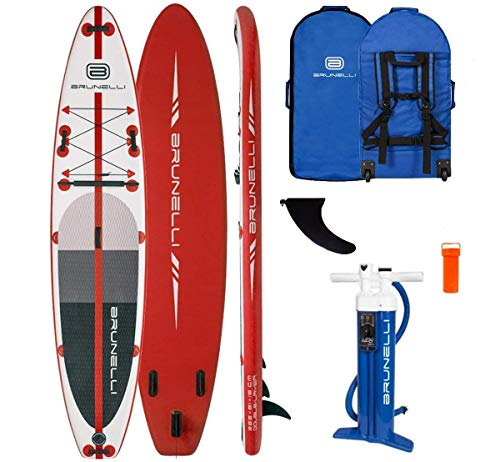 Brunelli 12.0 Monster Premium SUP Board Stand Up Paddle Surf-Board aufblasbar Paddel ISUP red 365cm