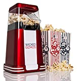 WICKED GIZMOS ® New Retro Electric Healthy Fat Free Popcorn Maker 1200w Power – Easy to Make Healthier Snack Popcorn Within 3 Mins - Comes with 6 Serving Boxes (Energy Class A)