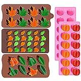5 pezzi Stampi in silicone Ringraziamento Zucca Foglie d'acero Stampi Raccolto Ringraziamento Autunno Tema Stampi in resina siliconica Stampo per cioccolato caramelle per il Ringraziamento Halloween