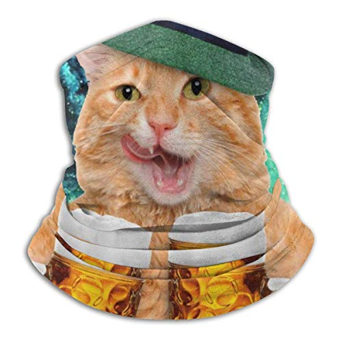 LAKILAN Cool Cat with Hat Beer Jarras Bebida Divertida Cubierta Facial,Banda Elástica Ultra Suave,Diademas para Exteriores,Sombreros Sin Costuras,Pañuelo Deportivo