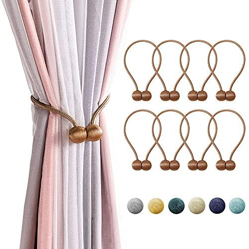 Hungpure 8 Pezzi Fibbia Magnetica per Tende Fermatende Corda Decorativa in Tieback per Tende Clip per la Finestra Soggiorno Camera da Letto (Marrone, 8)