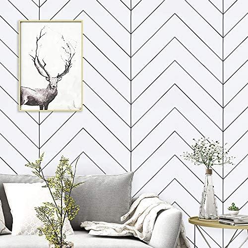 17 7 x197 White and Black Geometric Contact Paper White and Black Trellis Wallpaper Black Stripes product image