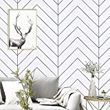 17.7'x197'White and Black Geometric Contact Paper White and Black Trellis Wallpaper Black Stripes Peel and Stick Wallpaper Modern Removable Self Adhesive Paper Vinyl for Wall Covering Home Decoration