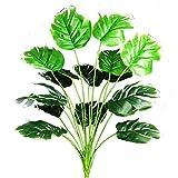 AIVORIUY Plantas Artificiales Hoja de Palmera Fake para Exterior Interior, Verde Artificial Monstera Deliciosa Árbol Ramas Falso Plastic Greenery Tropical Arbustos Decoracion para Macetas Garden Casa