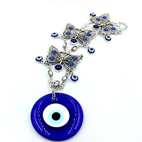 Decoración de pared turca con diseño de mano Jamsa contra el mal de ojo para colgar en la pared o en el coche, color azul, metal, diseño de mariposa, 26cm*10c