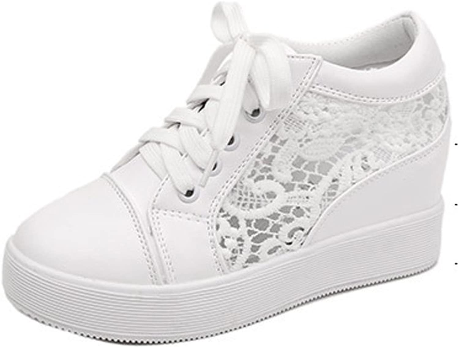 Ladola Womens Closed-Toe Lace-Up Embroidered Urethane Walking shoes
