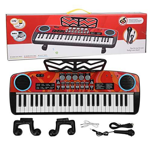 49 Tasten Kinder Klavier, Professionelle elektronische Klaviertastatur mit 11 Melodien, Multifunktionale Kinder Musik Lernspielzeug für Anfänger Mädchen Jungen Alter 3-8 - mit Mikrofon und Stativ