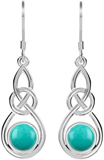 Natural Lapis, Turquoise, Labradorite, Moonstone Dangle Earrings Celtic Knot Design in 925 Sterling Silver