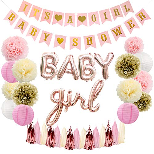 puseky Baby Douche Decoratie Kit voor Jongen Meisje Baby Douche Party Decoraties Banner Foil Ballonnen Papier Pom-poms Lantaarns Kassen Eén maat Pink for Baby Girls
