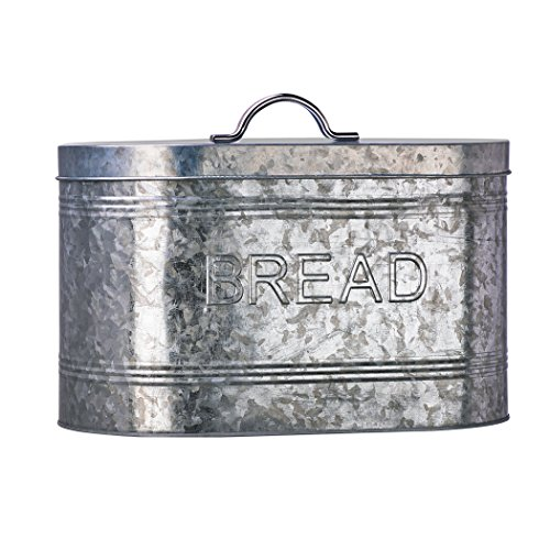 Amici Home, A7CJ009R, Rustic Kitchen Galvanized Metal Bread Storage Bin, 288 oz, Gray
