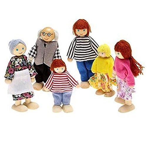WINOMO 6pcs famille de poupée en bois marionnette pour enfants amusant jeu de rôle