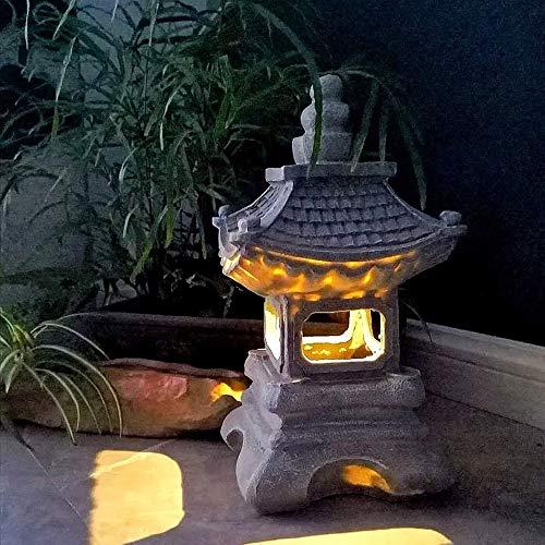 Las Estatuas Exteriores Lámpara De Piedra Japonesa Solar Powered Luces Al Aire Libre Impermeable del Jardín De Resina Esculturas para Césped De La Yarda 17 * 34cm con Adornos