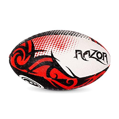 Optimum Razor Ballon de Rugby Noir/Rouge Taille 5