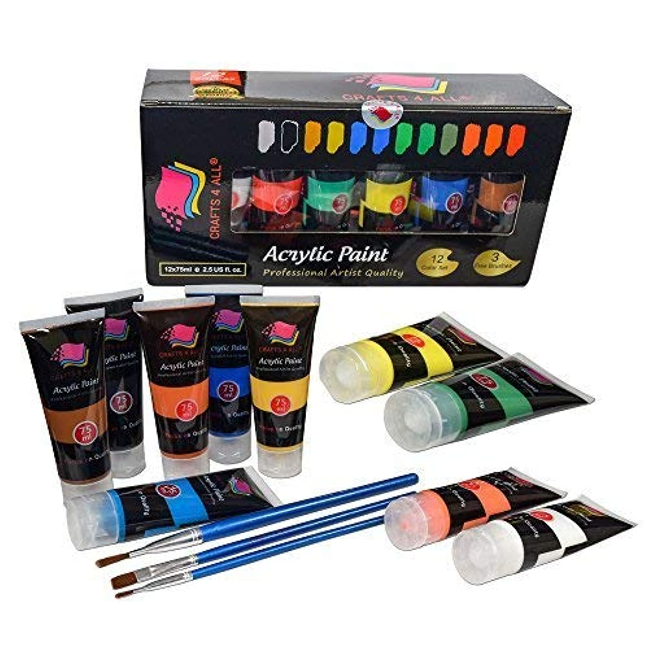 Crafts 4 ALL Acrylic Paints Set Studio Large 75m ml(2.64 oz) Paint Tubes Professional Grade Painting Kit for Canvas, Wood, Clay, Fabric, Nail Art, Ceramic