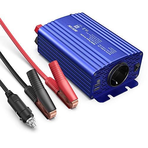 Wechselrichter 500W/BESTEK Spannungswandler DC 12V auf AC 230V/KFZ Inverter mit 2 USB, inklusive Kfz Zigarettenanzünder Stecker Autobatterieclips Blau, 2 Austauschbare Sicherungen
