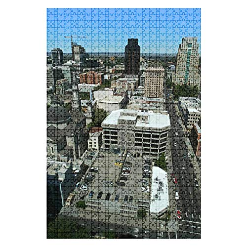 GAROLINAPW Wooden Jigsaw Puzzle Downtown Skyline 1000 Pieces for Adult Children Educational Decompression DIY Toys Gifts Fits Together Perfectly Multicolor