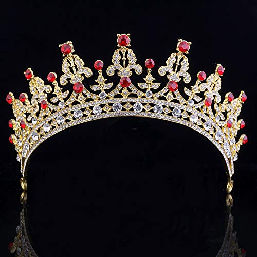 SNOWH Wedding Crowns for Women Rhinestone Bridal Tiara Headbands Prom Queen Crown for Pageant, Birthday, Costume Party (Gold+Ruby)