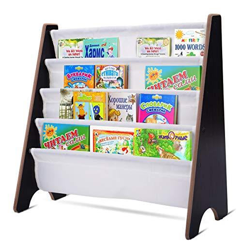 GOPLUS Bücherregal für Kinder, Hängefächerregal aus Holz, Büchergestell mit 4 Ablagefächern, Aufbewahrungsregal für Bücher, Kinderregal, Zeitungsständer, Farbwahl, 62x60x26 cm