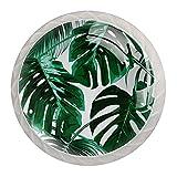 4 pomos redondos para aparador – Manija decorativa colorida para cajón de decoración del hogar, perillas de tiradores de hojas tropicales verdes de 35 x 28 x 17 mm