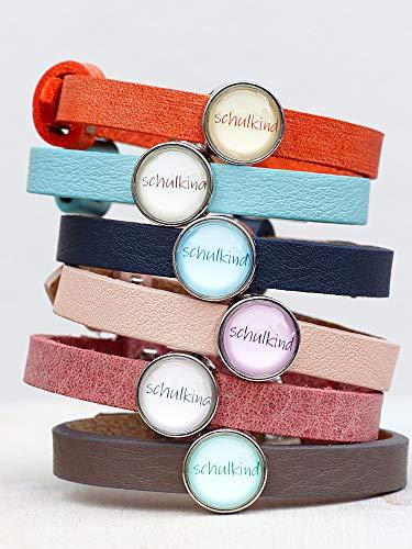 Kinderlederband ~ Schulkind ~ Geschenk zur Einschulung ~ viele Farben ~ personalisiertes Armband