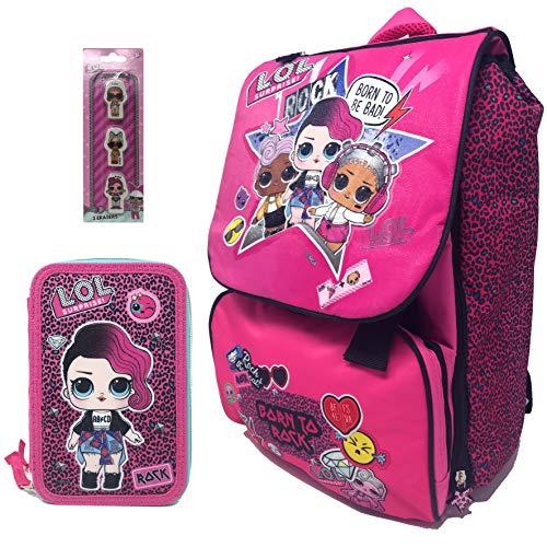 LOL SURPRISE Schoolpack - Zaino Estensibile + Astuccio 3 Zip Completo di Cancelleria Con Set 3 Gomme Sagomato