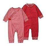 Body para bebé Pijama Mono 100% Algodón con Botón Cremallera Pieza para Pequeños Conjunto de 2 Paquetes de Manga Larga Unisex para 0-24 Meses(Rojo,66cm)