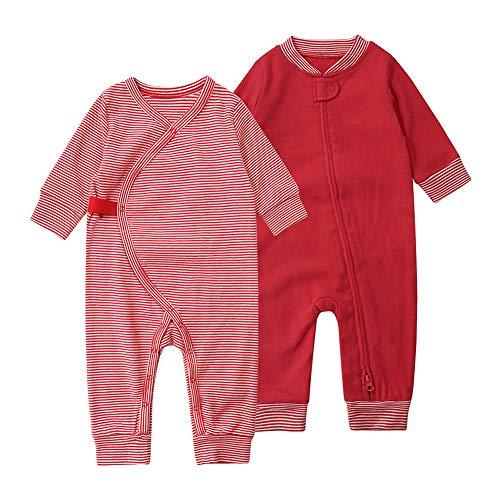 Baby Schlafstrampler Schlafoverall 100% Bio-Baumwolle ohne Fuß Einteiliger Langarm Schlafanzug Kleinkinder Strampelanzug Pyjama Reißverschluss Knopf 2er Pack Set Unisex für 0-24 Monate (Rot, 73cm)