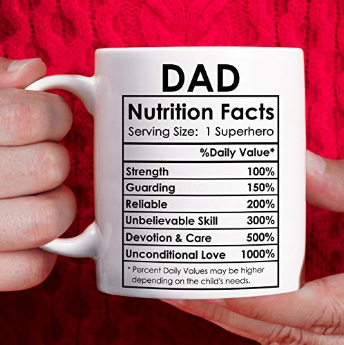 Dad Birthday Gifts from Daughter Son Happy Fathers Day Gifts for Dad Coffee Mug Funny - Superhero Dad Nutrition Facts mug, Dad Christmas Gifts from Kids - White, 11oz
