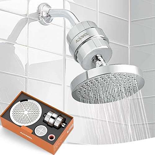 ADOVEL High Output Shower Head and Hard Water Filter, 15 Stage Shower Filter Removes Chlorine & Harmful Substances, Water Softener Showerhead for Bathroom, Rain Shower, 1 Replaceable Filter Cartridge