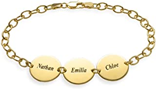 Personalized 925 Sterling Silver Infinity Bracelet Engraved with 3 Names or Message(Comes in 5.5