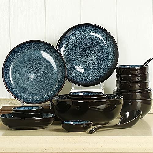 Placas de cerámica Conjunto Hogar Creative 6-Person Rice Bowl Soup Towl Tazón Vajilla Retro Cuenco y placa Combinación de 28 piezas