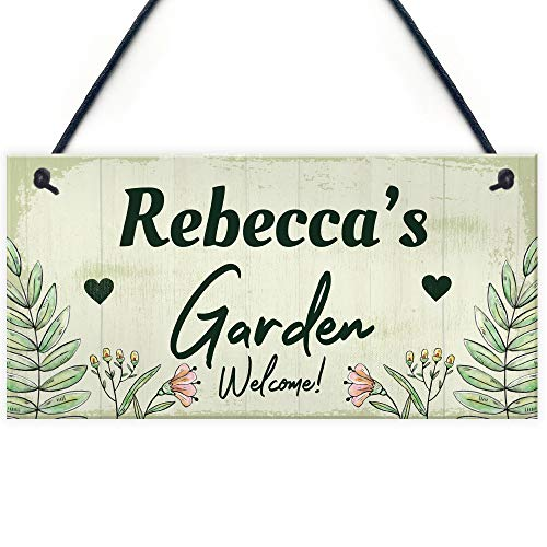 RED OCEAN Personalised Garden Sign Any Name Pretty Summer House Plaques Garden Shed Sign Gift
