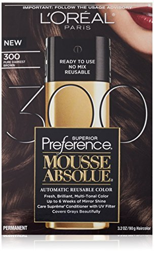 L'Oreal Paris Superior Preference Mousse Absolue Hair Color - 300 Pure Darkest Brown (Pack of 2)