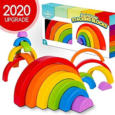 GoodyKing Wooden Rainbow Stacking Toy - Montessori Wood Stacker Blocks for Toddlers - Fun and Educational Color and Shape Sorting Puzzle Block Toys for Baby and Toddler Age 1 2 3 4 5 6 Years Old