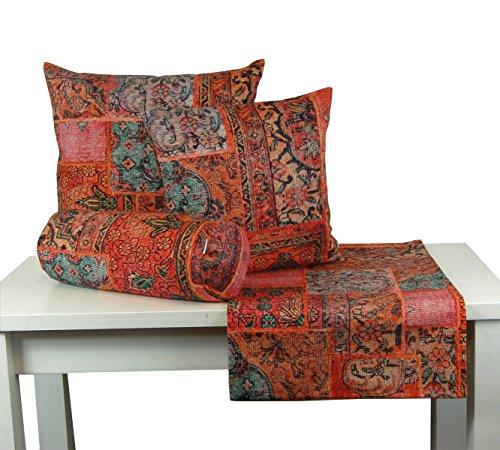 """beties """"PersischPatch"""" Mitteldecke ca. 80x80 cm 100% Baumwolle marokkanischer Wohnstil in der Farbe abendroter Wohnstil"""