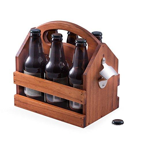 Bey Berk Solid Wood Beer Caddy With Bottle Opener