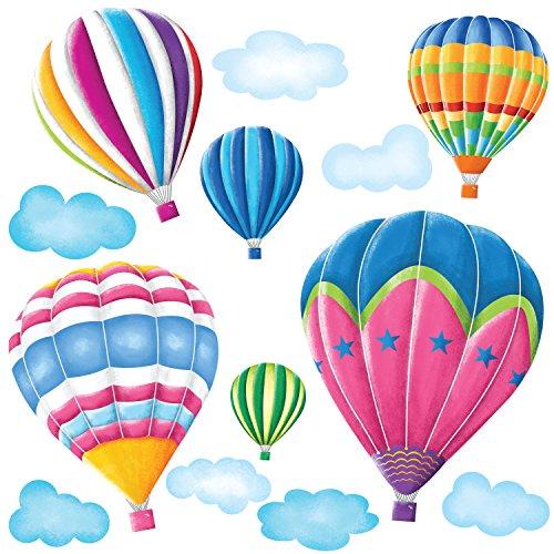 DECOWALL DW-1301AC 6 Montgolfières dans le Ciel Autocollants Muraux Mural Stickers Chambre Enfants Bébé Garderie Salon