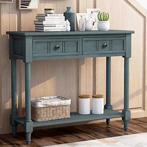 GAOPAN Leisure Zone Buffet Sideboard Retro Daisy Series Wood Console Table Traditional Design with Two Drawers and Bottom Shelf Acacia Mangium for Living Room/Kitchen/Entryway (Navy)